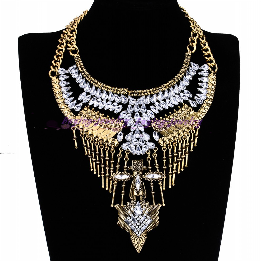 Vintage Gold Silver Ethnic Chain Charm Glass Crystal Choker Statement Necklace