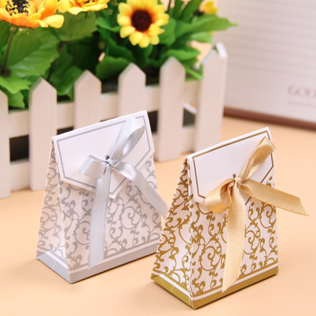 ... /Gold Bridal Wedding Party Favor Gift Ribbons Candy Boxes Bags eBay