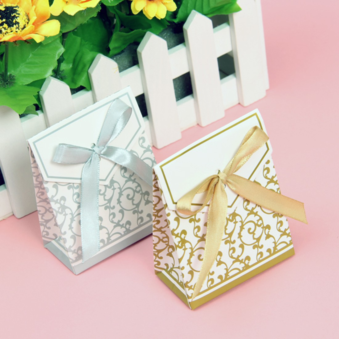 Wedding Favor Bags And Ribbons : ... /Gold Bridal Wedding Party Favor Gift Ribbons Candy Boxes Bags eBay