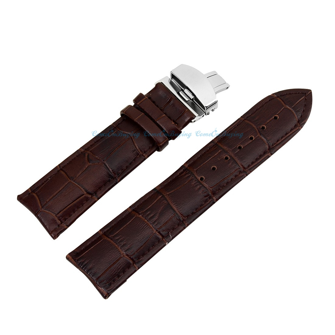 Quality Genuine Leather Crocodile Stainless Steel Hasp Buckle Watch Strap Band