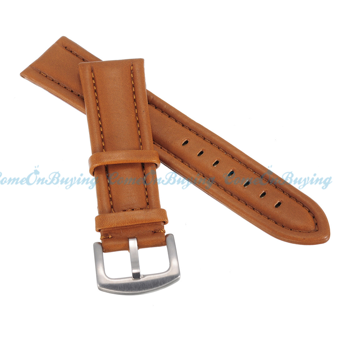 genuine leather watch strap band women men stainless steel