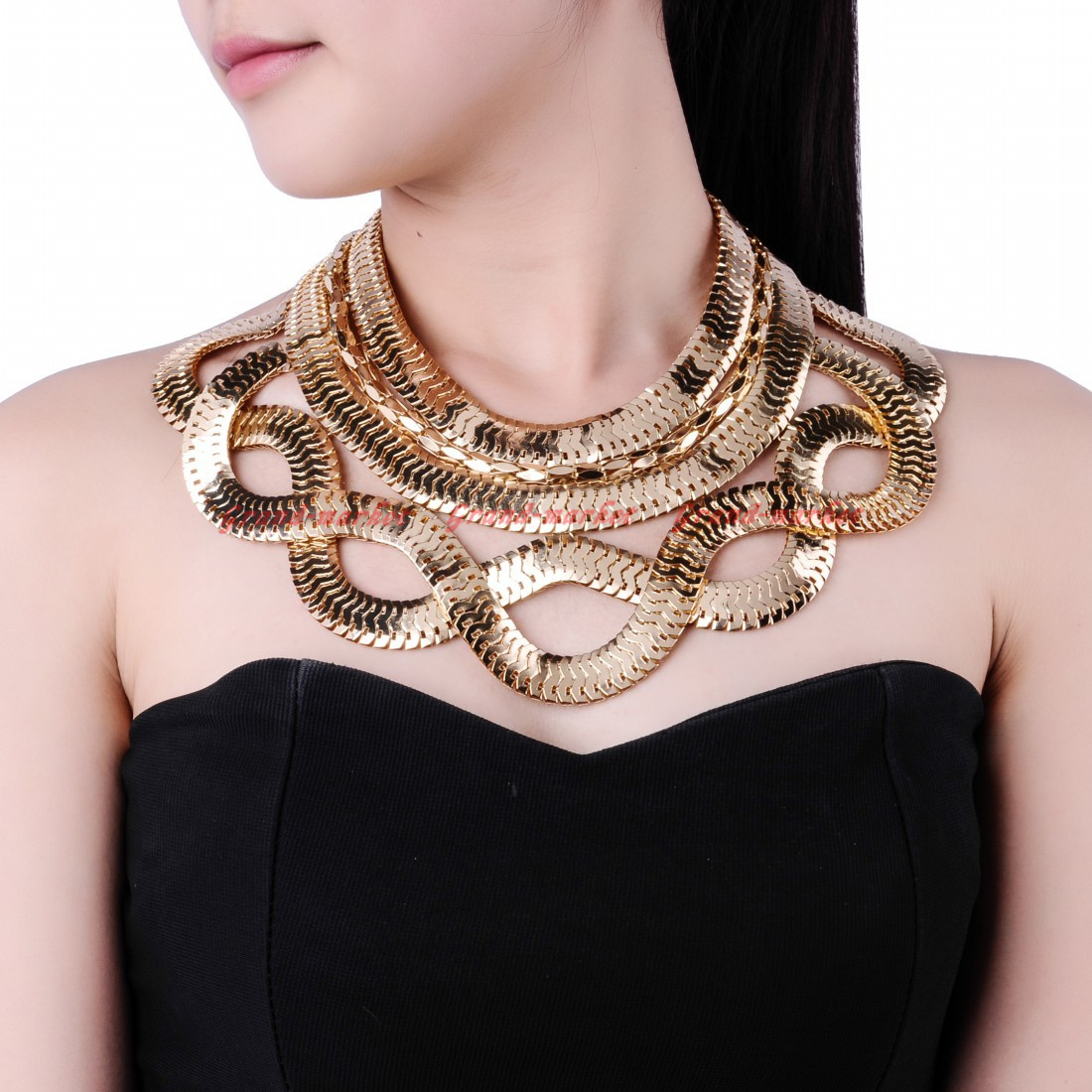 fashion jewelry gold snake chain chunky choker statement. Black Bedroom Furniture Sets. Home Design Ideas